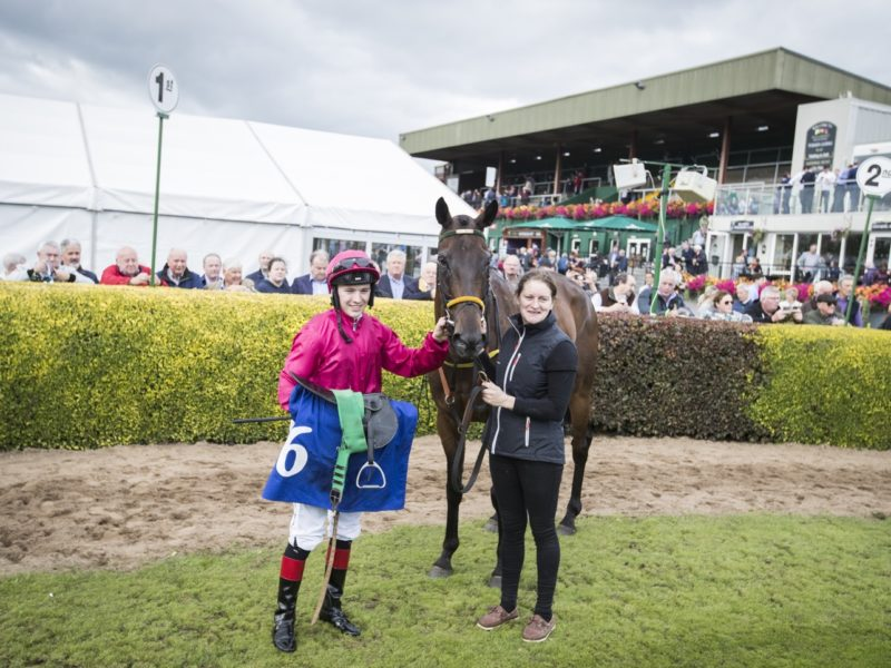 Snow Falcon with Colin Keane and Emma Connolly after winning the Kingdom Gold Cup Premier Handicap.