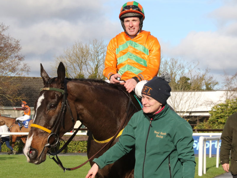 Texas Jack ridden by Sean Flanagan and being led in by Emma Connolly.