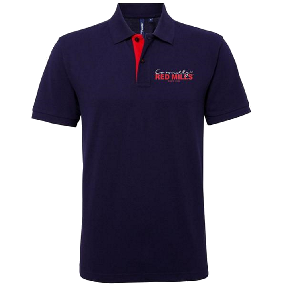 RED MILLS mens contrast collar polo in navy