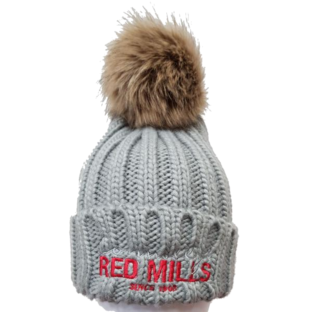RED MILLS fur pom chunky knit bobble hat in Grey